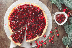 Cranberry Tart with browned butter crust Stock Image