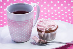 Cranberry tea with dessert Royalty Free Stock Photo
