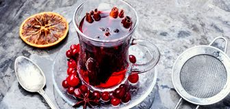 Hot tea with cranberry. Cranberry tea in a glass cup.Winter hot tea royalty free stock photography