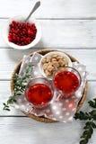 Cranberry tea on a napkin Stock Photography