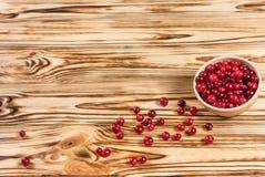 cranberry Tranbär på träbakgrund för glay platta arkivbild