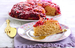 Cranberry upside down cake Royalty Free Stock Photography