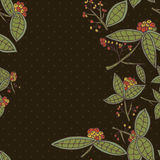 Cranberry vector border pattern with leaves and berries. Stock Photo