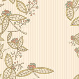 Cranberry vector border pattern with leaves and berries. Royalty Free Stock Images