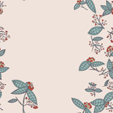 Cranberry vector border pattern with leaves and berries. Royalty Free Stock Image