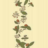 Cranberry vector border pattern with leaves and berries. Stock Photos