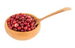 Cranberry w drewnianym pucharze Zdjęcia Royalty Free