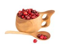 Cranberry w filiżance i łyżce Fotografia Royalty Free