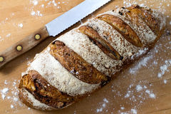 Cranberry Walnut Bread. A fresh loaf of cranberry walnut bread and a bread knife stock photos