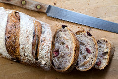 Cranberry Walnut Bread. A sliced loaf of cranberry walnut bread Stock Photo