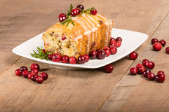 Cranberry walnut bread on a white plate Royalty Free Stock Images