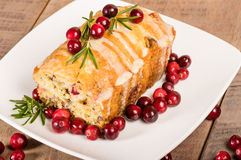 Cranberry walnut bread on a white plate Stock Photo