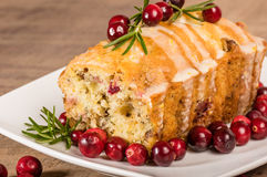 Cranberry walnut bread on a white plate Stock Photos