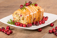 Cranberry walnut bread on a white plate Stock Image