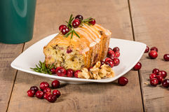 Cranberry walnut bread on a white plate Royalty Free Stock Image