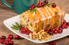Cranberry walnut bread on a white plate Stock Photography