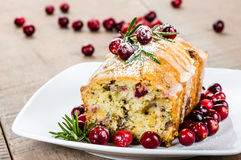 Cranberry walnut bread on a white plate Stock Images