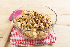 Cranberry and white chocolate cookies dough in bowl Royalty Free Stock Photos