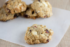 Cranberry White Chocolate Oatmeal Cookies Royalty Free Stock Photo