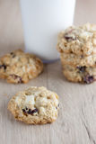 Cranberry White Chocolate Oatmeal Cookies Royalty Free Stock Images