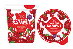 Cranberry Yogurt Packaging Design Template. Stock Image