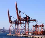 Crane. S and cargo containers in ports Stock Photography