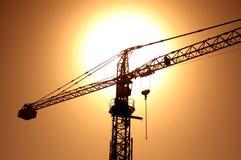 Crane. Sunset with crane stock image