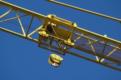 Crane. Yellow crane close up shoot from bottom up Royalty Free Stock Image