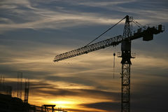 Crane. At the site at dusk Royalty Free Stock Photos