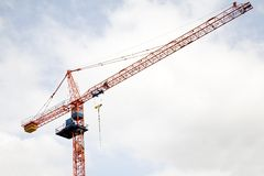 Crane. Upper portion of a tower crane on a construction site Stock Photography