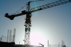 Crane-3. Building cranes. The industrial landscape with cranes on background of sky Royalty Free Stock Photo