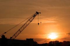 Crane. At sunset Royalty Free Stock Photography