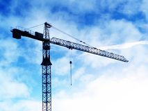 Crane. Industrial background, photo manipulation: industry, works, construction, achievements, heights concept royalty free stock photography
