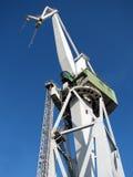 Crane. White big crane in a shipyard Stock Image