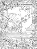 Crane adult coloring page Stock Images