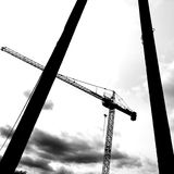 The crane. Artistic look in black and white. Royalty Free Stock Images