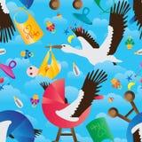 Crane baby item fly set sky seamless pattern Royalty Free Stock Image