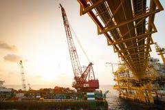 Crane barge doing marine heavy lift installation Royalty Free Stock Photo
