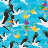 Crane bird carrying play baby at sky seamless pattern Stock Photos