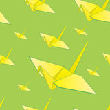 Crane bird pattern. Seamless pattern filles with yellow origami crane birds Royalty Free Stock Photography