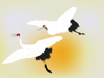 Crane Birds. Flying crane birds over the sun vector illustration