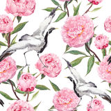 Crane birds dance, peony flowers. Floral repeating asian pattern. Watercolor Royalty Free Stock Photo