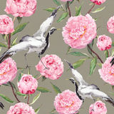 Crane birds dance, peony flowers. Vintage floral repeating background. Watercolor. Crane birds dance in pink peony flowers. Vintage floral repeating background Royalty Free Stock Image