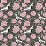 Crane birds dance, pink peony flowers. Floral repeating background. Watercolor Royalty Free Stock Photo