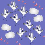 Crane birds dance. Seamless animal print with dancing birds, butterflies and clouds. Vector illustration. Asian traditional background royalty free illustration