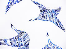 Crane birds flying watercolor painting hand drawn japanese style Stock Images