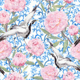 Crane birds, peony flowers. Floral repeating asian pattern. Watercolor. Crane birds dance in pink peony flowers. Floral repeating asian pattern with chinese royalty free stock image