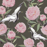 Crane birds, peony flowers. Floral repeating background. Watercolor Stock Image