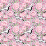 Crane birds, peony flowers. Floral repeating decorative pattern. Watercolor Stock Photos