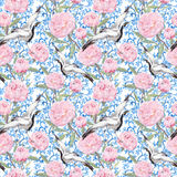 Crane birds, peony flowers. Floral repeating estern pattern. Watercolor Royalty Free Stock Photo